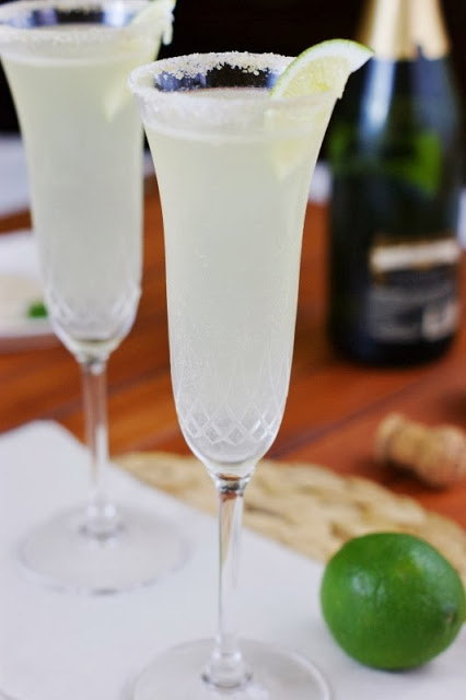 This champagne margarita is one of over 30 refreshing margarita recipes in a collection on afamilyfeast.com