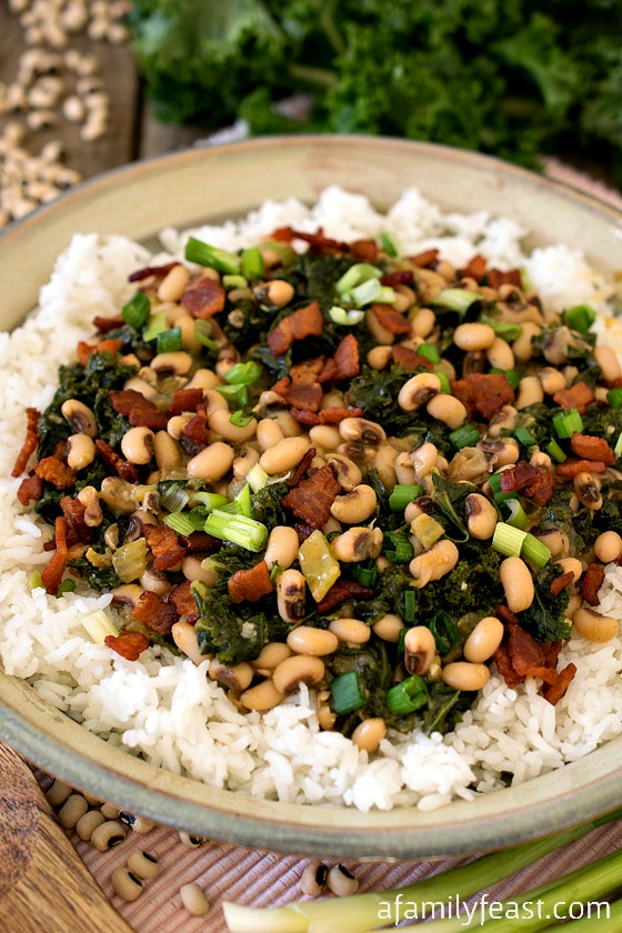 Hoppin' John with Kale - A traditional Southern dish with some Portuguese influences in the mix.  Delicious!