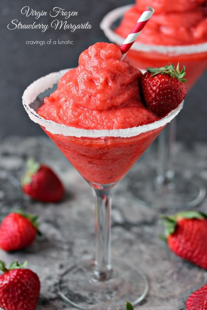 This virgin strawberry margarita is one of over 30 refreshing margarita recipes in a collection on afamilyfeast.com