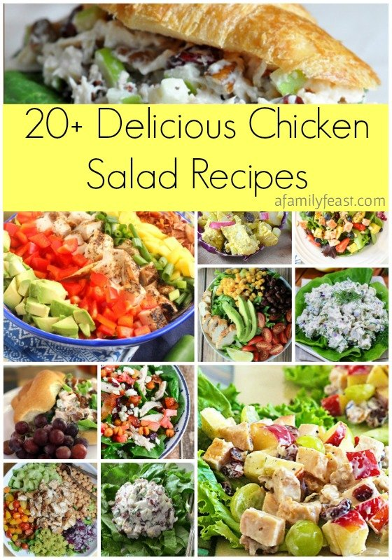 Over 20 delicious chicken salad recipes are in this collection! With creamy , pasta, and tossed salad recipes to choose from, there's one for everyone in this delicious roundup on afamilyfeast.com