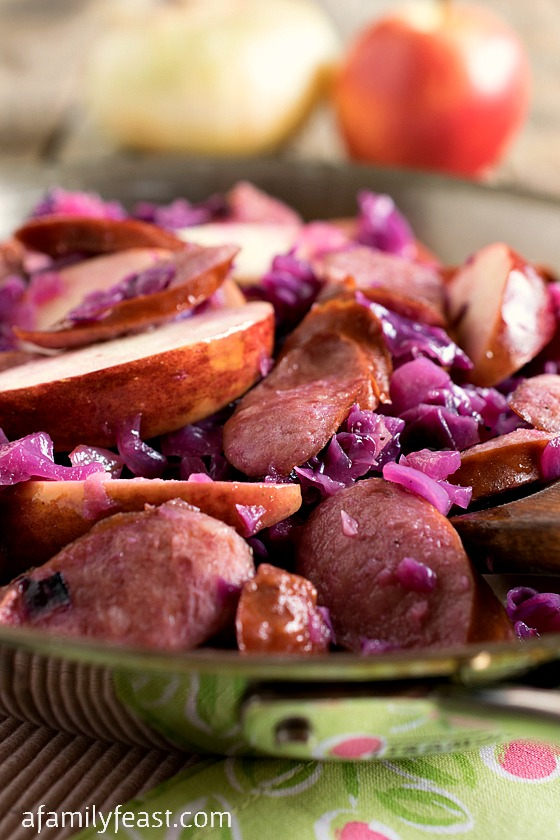 Kielbasa and Red Cabbage Skillet with Apples - A simple, rustic and delicious meal. Soft cooked cabbage, zesty kielbasa and crispy apple slices come together quickly in this family-friendly meal!