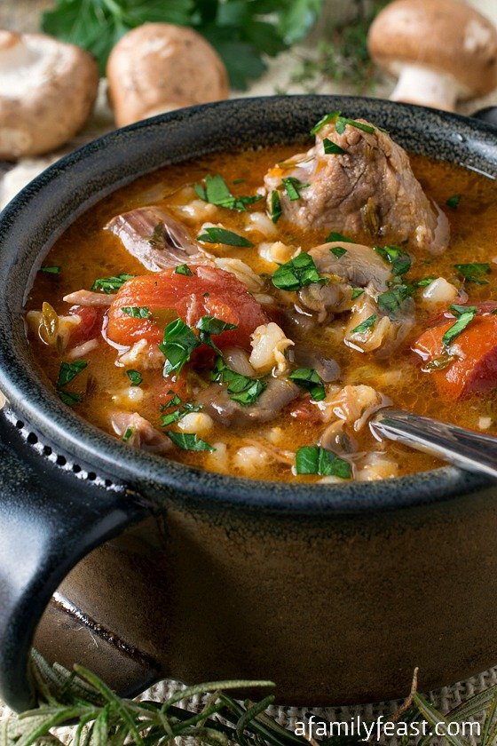 Lamb, Tomato and Barley Soup - A hearty, rich and delicious soup with tender chunks of lamb, barley, sliced mushrooms and diced tomatoes. Incredible!