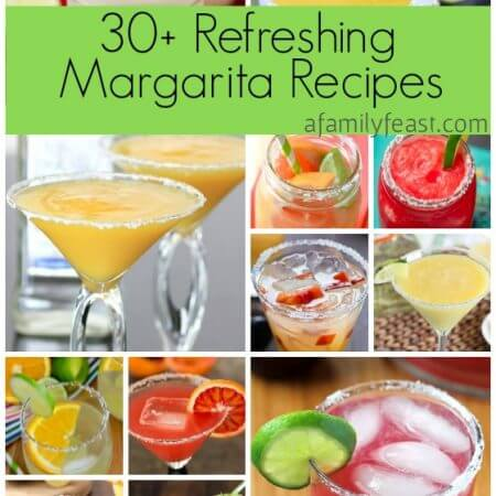 Over 30 refreshing margarita recipes are in this collection! With frozen, on the rocks, and virgin margarita recipes to choose from, there's one for everyone in this delicious roundup on afamilyfeast.com
