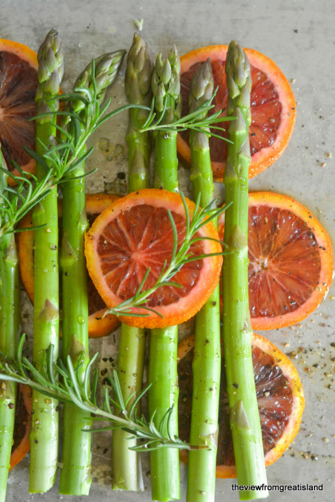 Asparagus Roasted with Blood Oranges - One of over 30 Amazing Asparagus Recipes to give you cooking inspiration this Spring! See the collection on A Family Feast