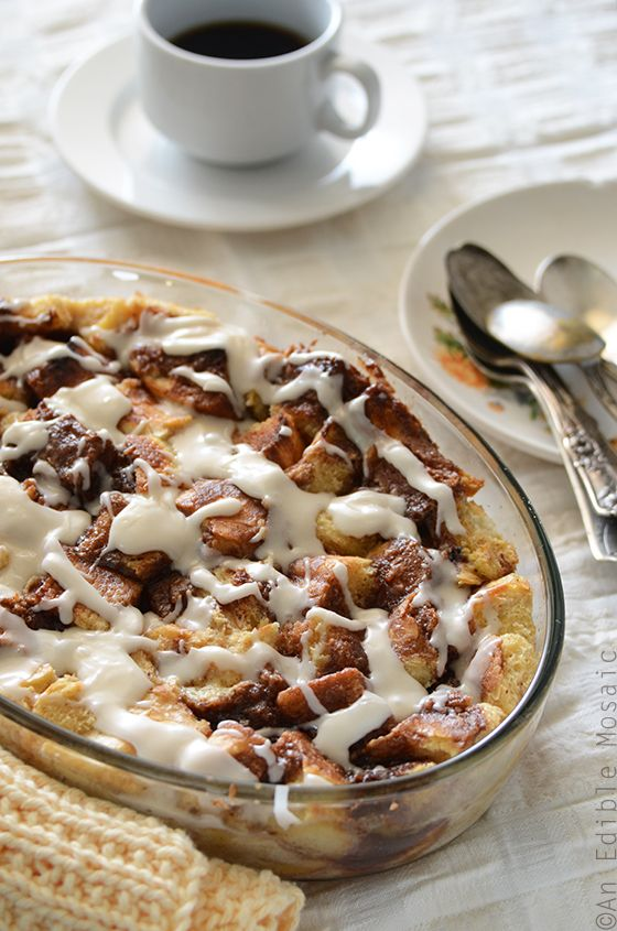 Cinnamon Bun Bread Pudding - One of over 30 beautiful brunch recipes for Mother's Day, or any special occasion! The collection includes main dishes, appetizers, drinks, and desserts. | A Family Feast