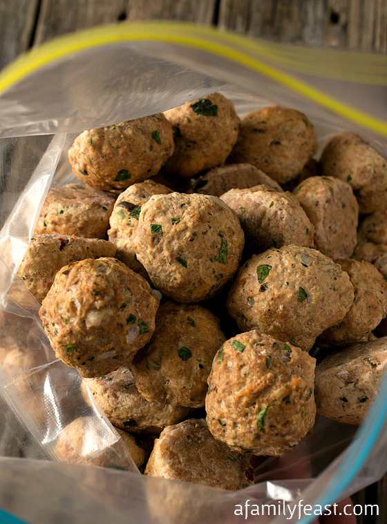 Easy Freezer Meatballs - A versatile and flavorful meatball recipe.  Make a big batch, then store in the freezer and thaw as needed.  Perfect for busy days when you don't have a lot of time to cook!  #TeamRyan