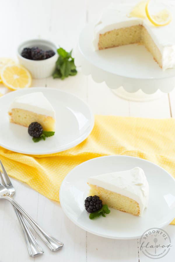 Lemon Cake with White Chocolate Mousse Frosting - One of over 30 beautiful brunch recipes for Mother's Day, or any special occasion! The collection includes main dishes, appetizers, drinks, and desserts. | A Family Feast