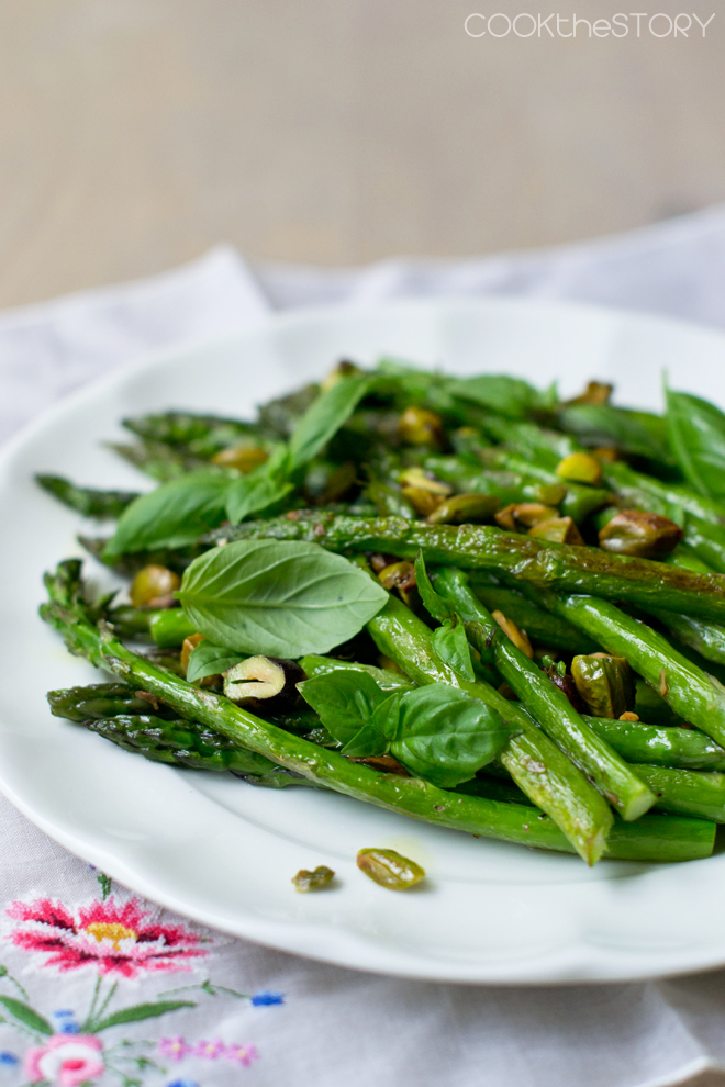 Roasted Asparagus with Basil and Pistachios - One of over 30 Amazing Asparagus Recipes to give you cooking inspiration this Spring! See the collection on A Family Feast