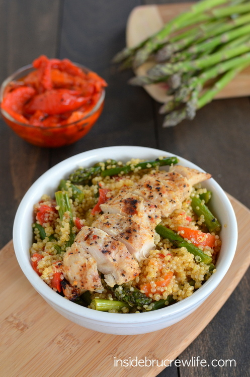 Roasted Red Pepper and Asparagus Quinoa - One of over 30 Amazing Asparagus Recipes to give you cooking inspiration this Spring! See the collection on A Family Feast