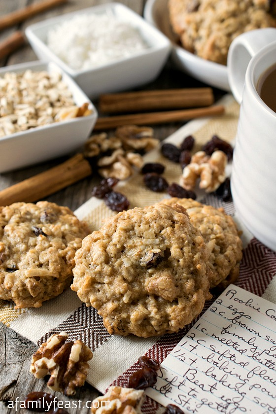 Rookie Cookies - A classic World War II recipe that is simple and delicious.  Oatmeal raisin cookies with walnuts and coconut added to the mix.  So good!