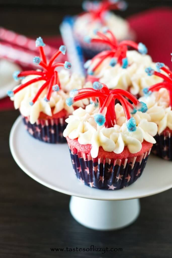 Twizzler Firecracker Cupcakes - One of over 25 patriotic holiday recipes to help you celebrate Memorial Day, 4th of July, Flag Day, or any day!