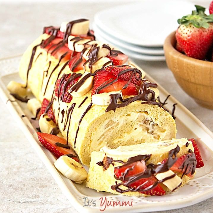 Lightened Up Banana Split Cake Roll - One of over 30 beautiful brunch recipes for Mother's Day, or any special occasion! The collection includes main dishes, appetizers, drinks, and desserts. | A Family Feast