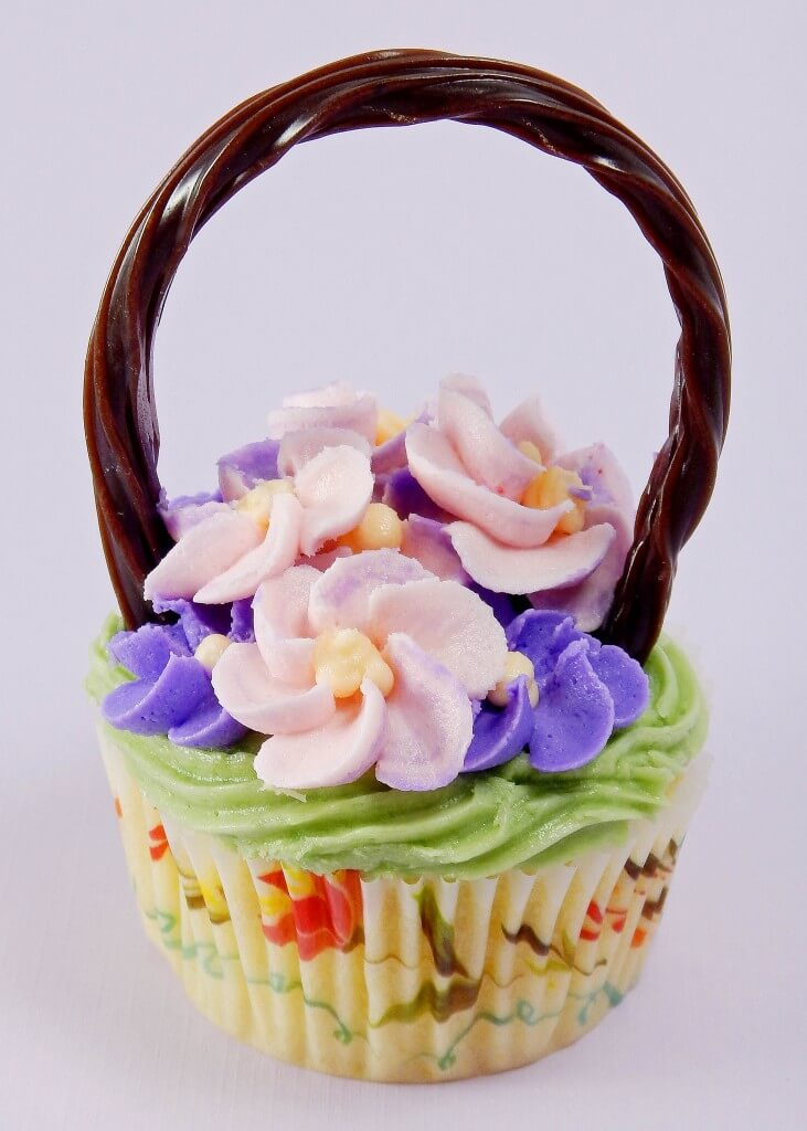 Flower Basket Cupcakes - One of over 30 beautiful brunch recipes for Mother's Day, or any special occasion! The collection includes main dishes, appetizers, drinks, and desserts. | A Family Feast