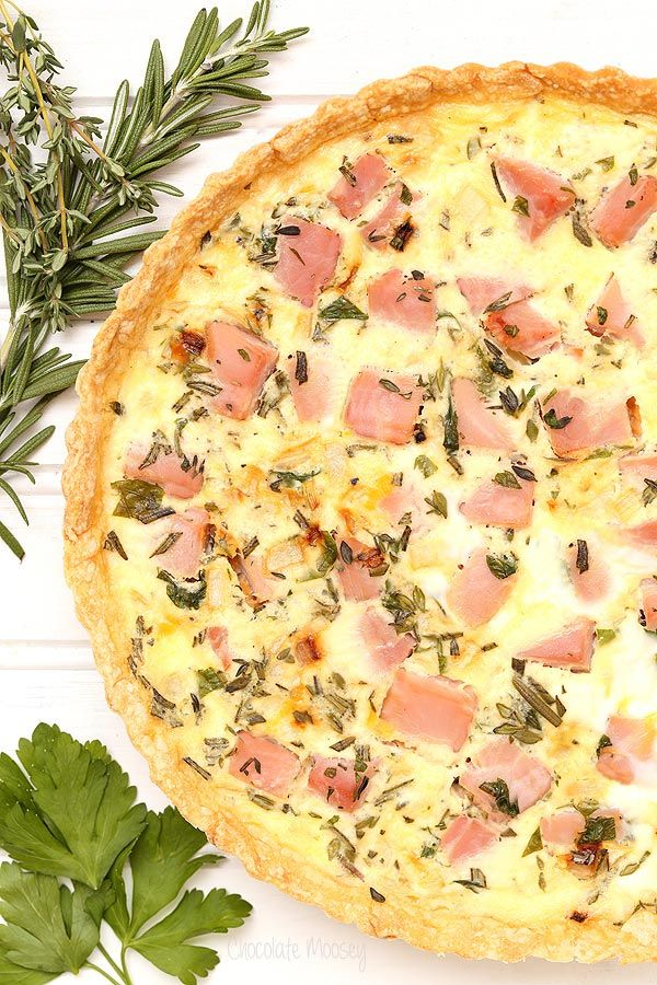 Ham and Cheddar Herb Quiche - One of over 30 beautiful brunch recipes for Mother's Day, or any special occasion! The collection includes main dishes, appetizers, drinks, and desserts. | A Family Feast