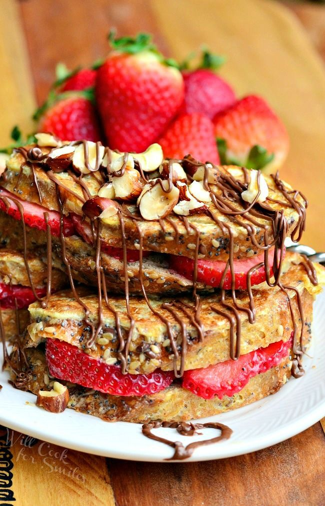 Fruit Filled Hazelnut French Toast - One of over 30 beautiful brunch recipes for Mother's Day, or any special occasion! The collection includes main dishes, appetizers, drinks, and desserts. | A Family Feast