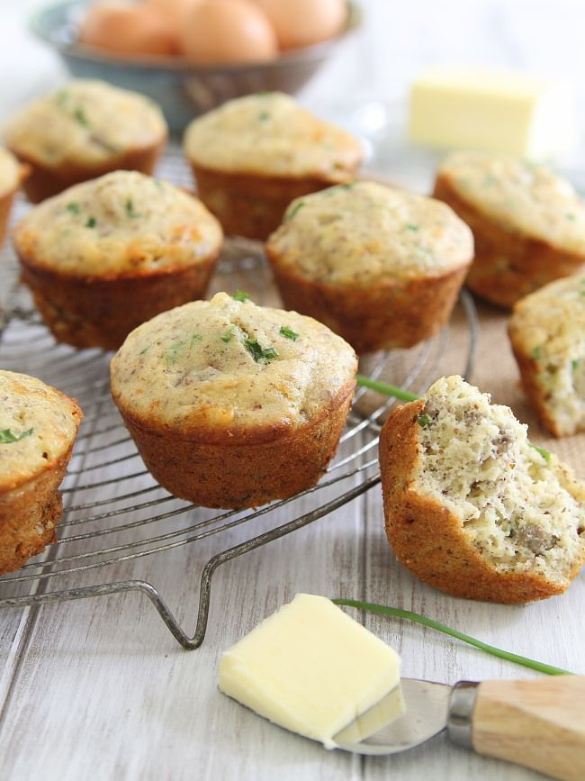 Sausage and Cheddar Breakfast Muffins - One of over 30 beautiful brunch recipes for Mother's Day, or any special occasion! The collection includes main dishes, appetizers, drinks, and desserts. | A Family Feast