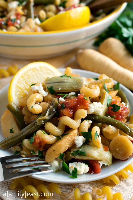 Mediterranean Pasta Primavera - A super flavorful vegetable and pasta dish with bright Mediterranean flavors.  Perfect for a meatless meal or a side dish.