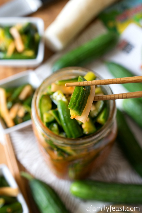 Korean-Style Marinated Cucumbers - Fresh and fantastic! These easy marinated cucumbers have a sweet heat.