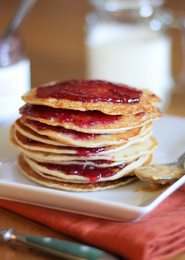 Peanut Butter and Jelly Pancakes - One of over 20 delicious peanut butter and jelly recipes for Peanut Butter Jelly Time on A Family Feast