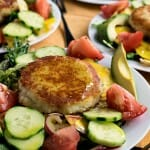 Summer Salad with Goat Cheese-Filled Potato Cakes