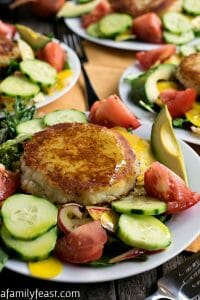 Summer Salad with Goat Cheese-Filled Potato Cakes - A Family Feast