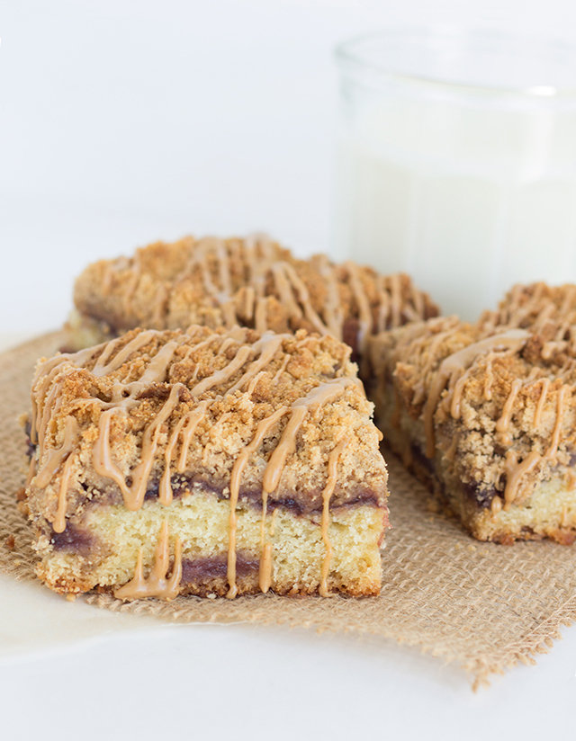 Peanut Butter and Jelly Coffee Cake - One of over 20 delicious peanut butter and jelly recipes for Peanut Butter Jelly Time on A Family Feast