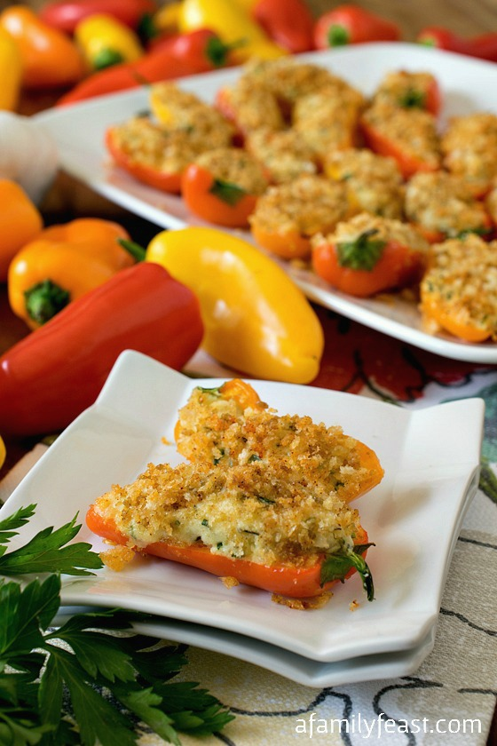 Mini Stuffed Sweet Peppers - Stuffed with a savory filling of herbed cream cheese and goat cheese plus a like crispy panko topping. So good!