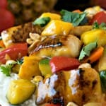 Pineapple Mango Mahi Mahi and Vegetables Over Rice