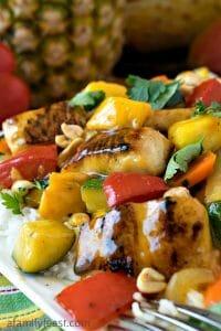 Pineapple Mango Mahi Mahi and Vegetables Over Rice - A Family Feast