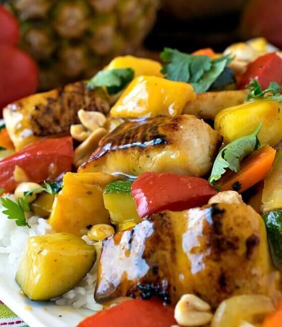Pineapple Mango Mahi Mahi and Vegetables Over Rice