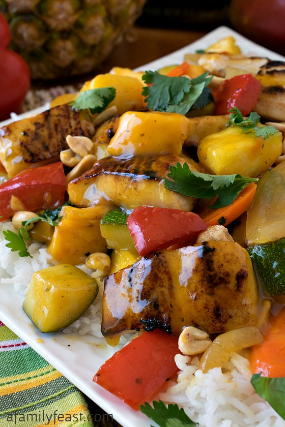 Pineapple Mango Mahi Mahi and Vegetables Over Rice - A delicious, easy dinner that the entire family will love!