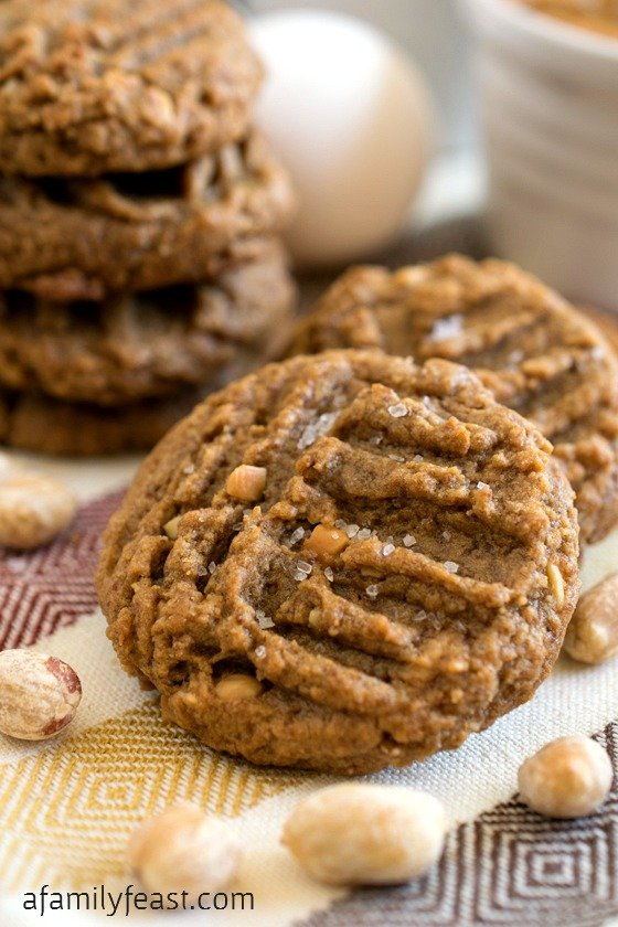 Flourless Peanut Butter Cookies with Sea Salt - An update on the classic four-ingredient peanut butter cookie recipe - made better with coconut sugar swapped in and sea salt on top!