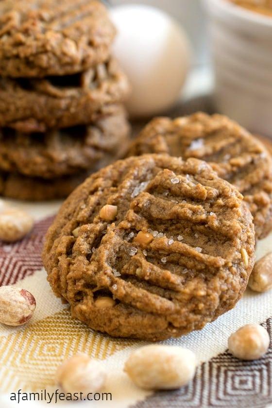 Flourless Peanut Butter Cookies with Sea Salt - A Family Feast