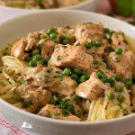 Creamed Salmon and Peas Over Linguini