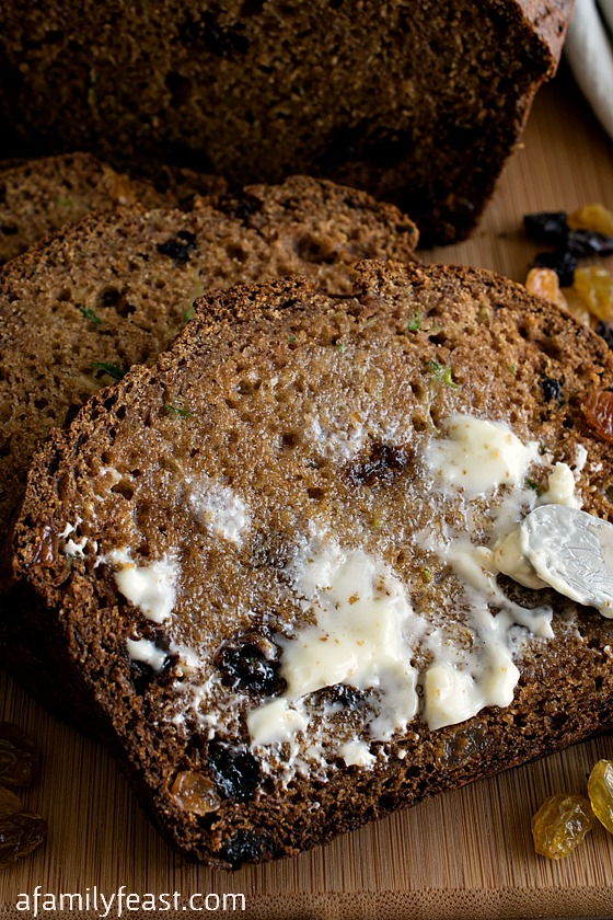 Whole Wheat Zucchini Bread - A dense, spicy and delicious whole wheat bread with zucchini added for moisture and extra goodness!