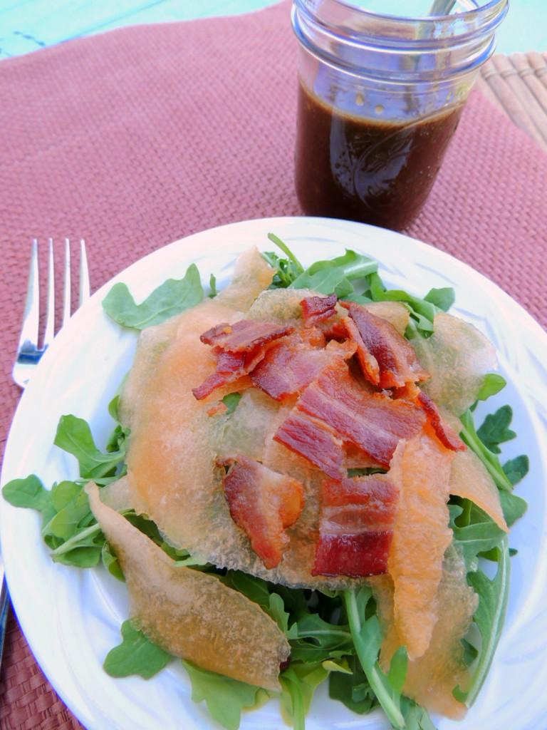 Bacon, Cantaloupe, and Arugula Salad - One of over 25 melon recipes in a collection on afamilyfeast.com