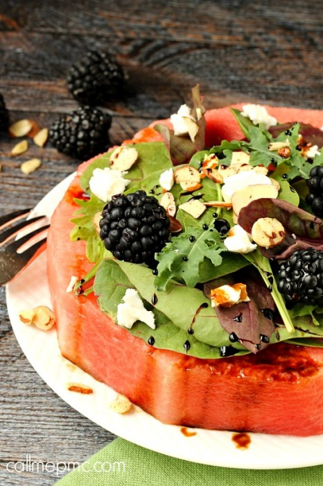 Feta, Almond, and Watermelon Salad - One of over 25 melon recipes in a collection on afamilyfeast.com