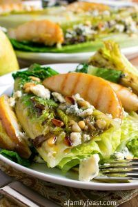 Grilled Romaine Hearts and Pears with Bleu Cheese - A Family Feast