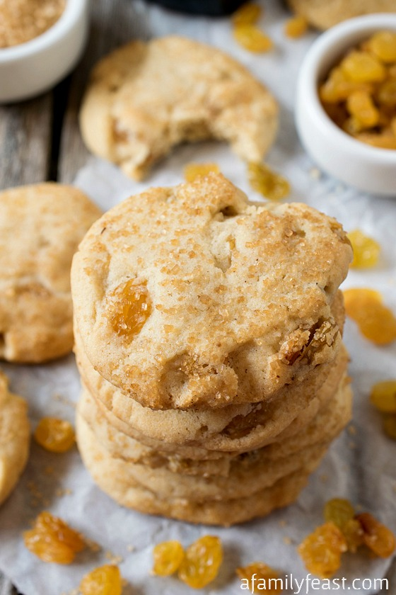 Nanny's Rum Raisin Sugar Cookies - A delicious twist on the classic sugar cookie.  Chewy in the middle and crunchy on top and loaded with golden raisins.