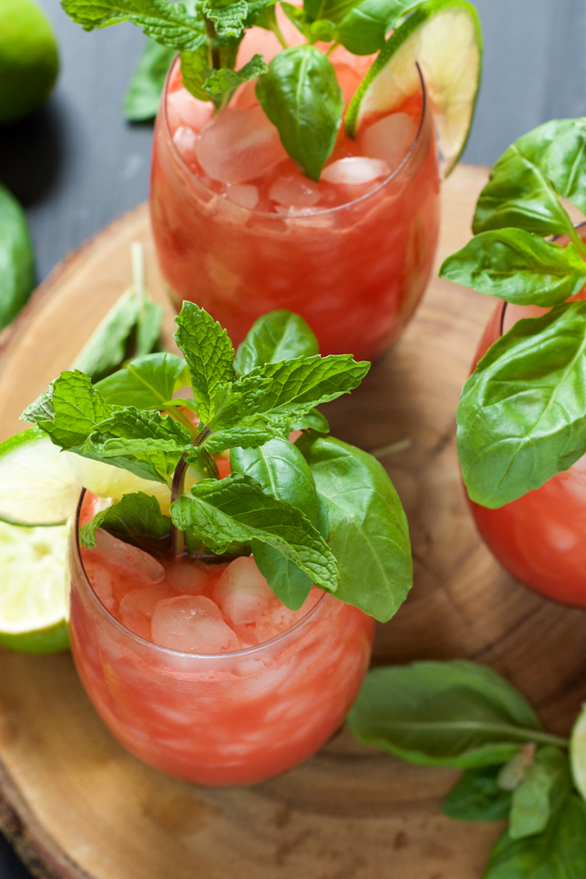 Skinny Watermelon Limeade - One of over 25 melon recipes in a collection on afamilyfeast.com