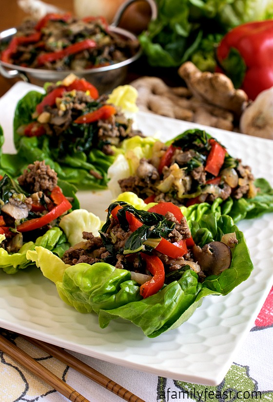 Moo Shu Beef Lettuce Cups - A simple, healthy and super delicious recipe!  Weight Watchers-friendly.