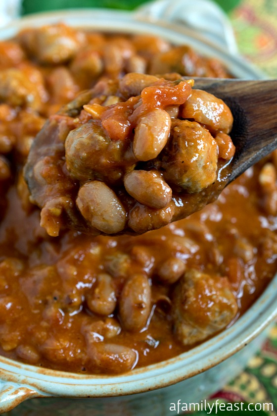 Tuscan-Style Beans - Also called Fagioli All'Uccelletto. Tender beans in a flavorful sauce made with tomatoes, sage and Italian sausage.  So good!