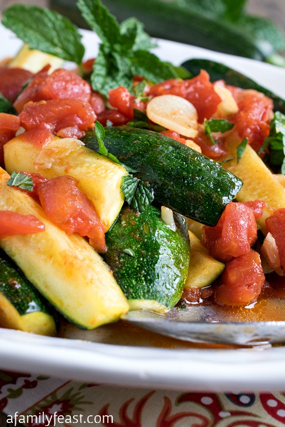 Tuscan Zucchini with Tomatoes, Garlic and Mint - A simple and easy dish to prepare with fresh, fantastic flavors.