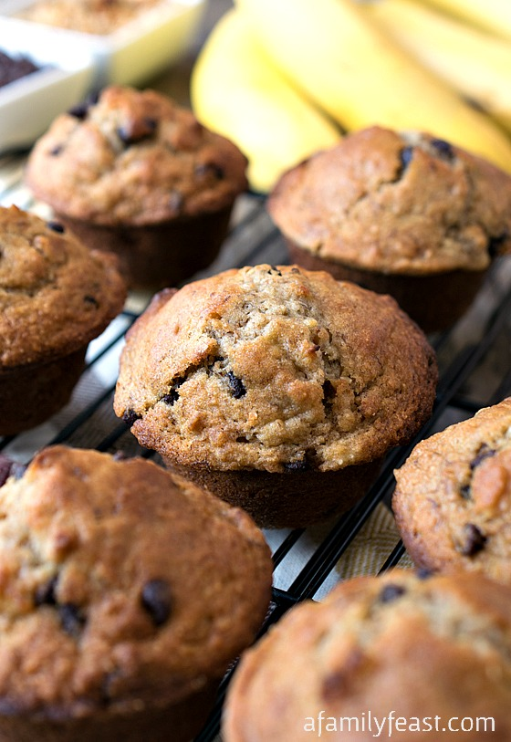 Banana Chocolate Chip Granola Muffins - Delicious hearty muffins filled with bananas and granola.