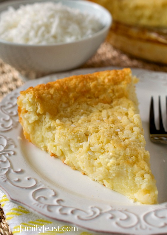 Crustless Coconut Custard Pie - A Family Feast