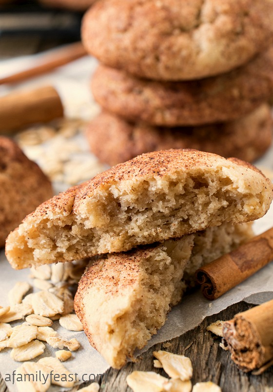 Oatmeal Snickerdoodles - A delicious version of the classic snickerdoodles cookie.  The added oatmeal gives the cookies a chewier texture.