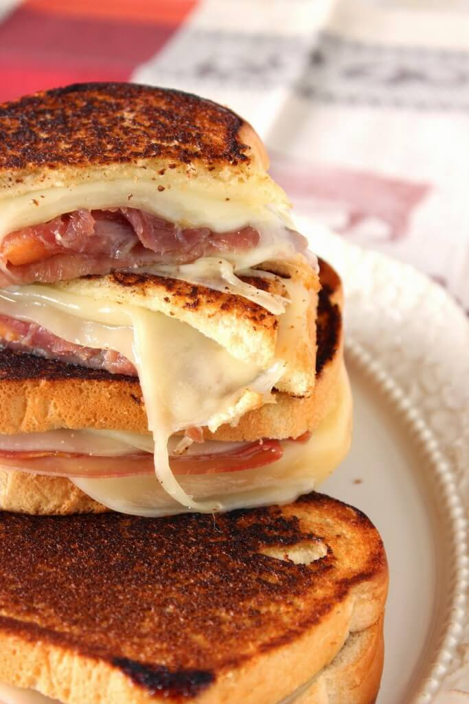 Prosciutto, Melon, and Provolone Grilled Cheese - One of over 25 melon recipes in a collection on afamilyfeast.com