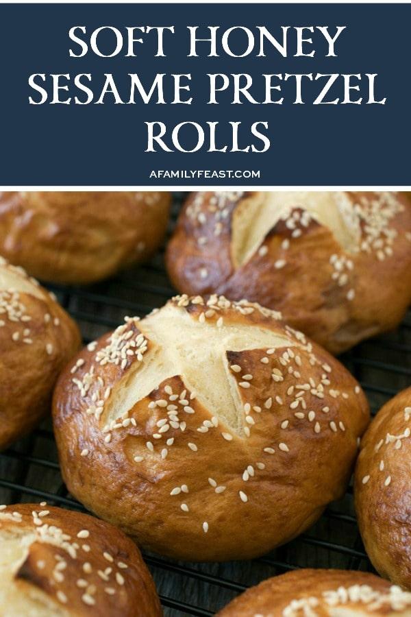 Soft Honey Sesame Pretzel Rolls