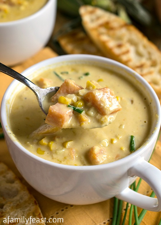 Sweet Corn Soup - Summertime in a bowl!  This rich, creamy, easy soup is a perfect way to enjoy in-season corn.
