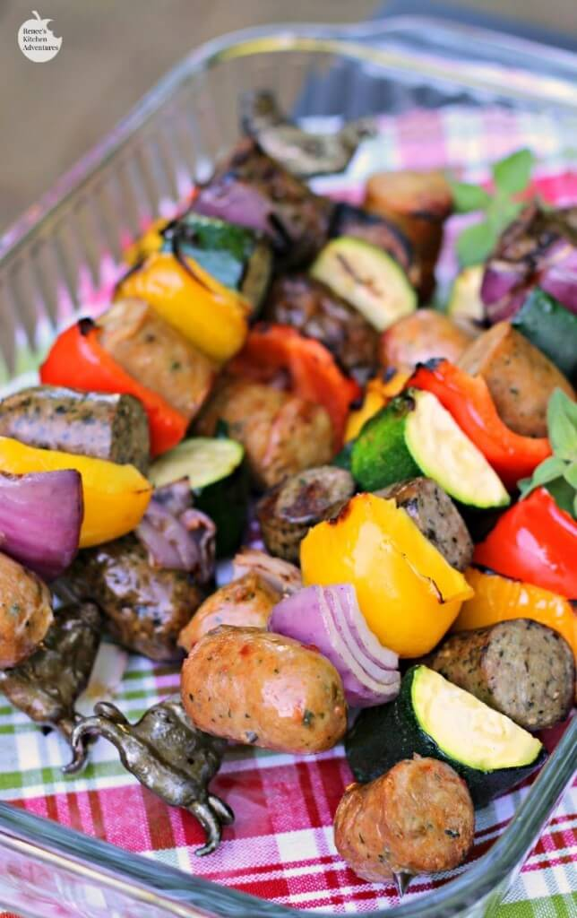 25 Sensational Skewer Recipes, including these Chicken Sausage and Pepper Kebabs